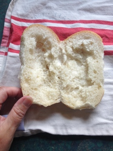 I used my clean hands to remove some of the bread. It would've been prettier if I'd used a knife.