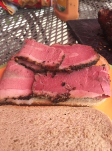 Top with slices of pastrami